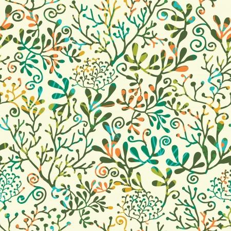 seamless pattern: Textured Plants Seamless Pattern Background Illustration