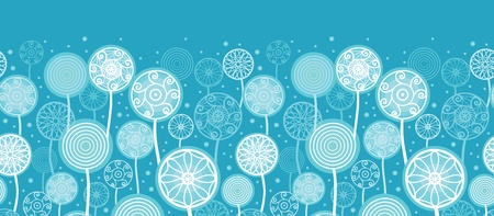 Abstract Dandelion Plants Horizontal Seamless Pattern Ornament Vector