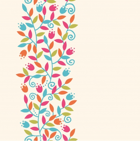 vertical garden: Colorful Branches Vertical Seamless Pattern Background Border