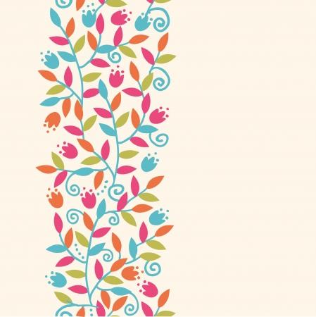 Kleurrijke Takken Verticale Naadloze Patroon Achtergrond Grens