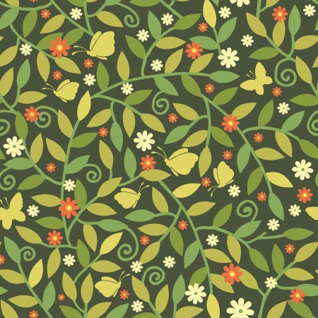 among: Butterflies Among Branches Seamless Pattern Background