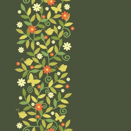 Butterflies Among Branches Vertical Seamless Pattern Border Vector