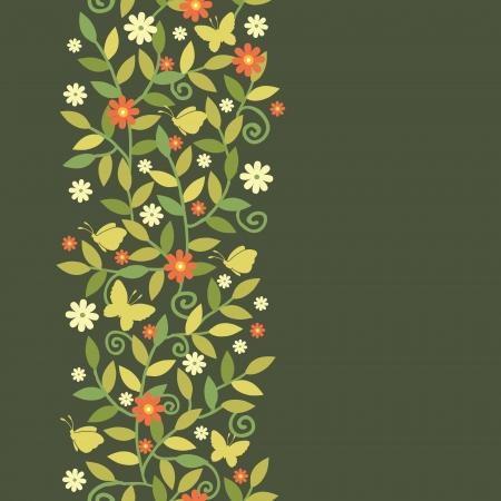 seamless: Butterflies Among Branches Vertical Seamless Pattern Border