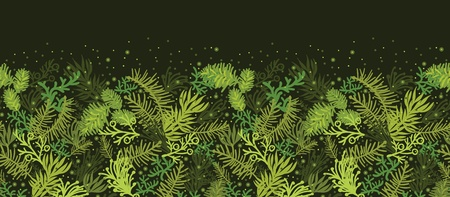 Evergreen christmas tree horizontal seamless pattern border Vector
