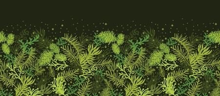 horizontal: Evergreen christmas tree horizontal seamless pattern border