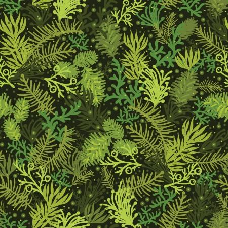 常緑のクリスマス ツリーのシームレスなパターン背景  イラスト・ベクター素材