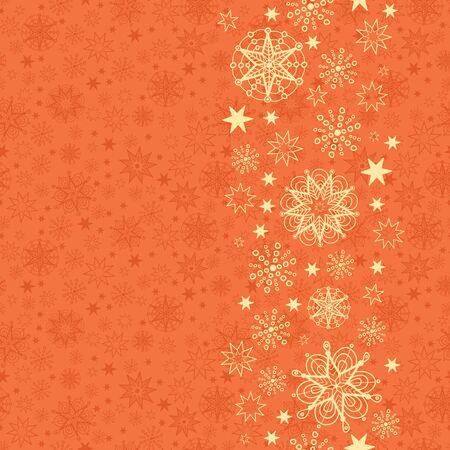 Golden Snowflakes Vertical Seamless Pattern Background Border Stock Vector - 16446374