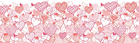 Valentine s Day Hearts Horizontal Seamless Pattern Border Vector