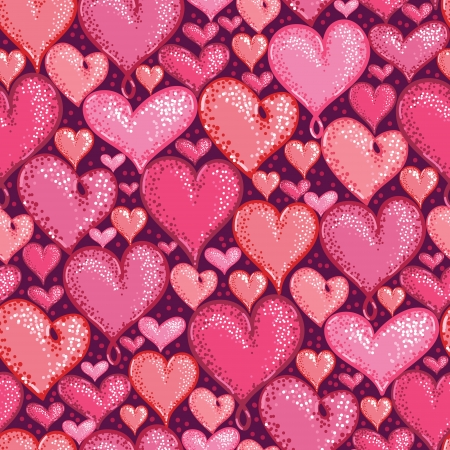 Red Valentine s Day Hearts Seamless Pattern Background Vector