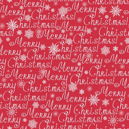 Red Merry Christmas Text Seamless Pattern Background Stock Photo - 16446364