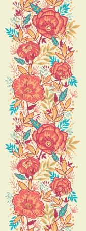 Colorful vibrant flowers vertical seamless pattern border Vector