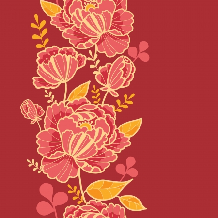floral ornaments: Gold and red flowers vertical seamless pattern border Illustration
