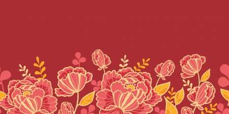 Gold and red flowers horizontal seamless pattern border Vector
