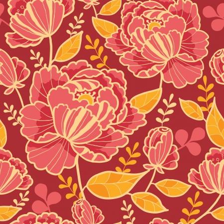 ゴールドと赤の花のシームレスなパターン背景