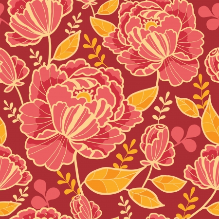 Gold and red flowers seamless pattern background Vector