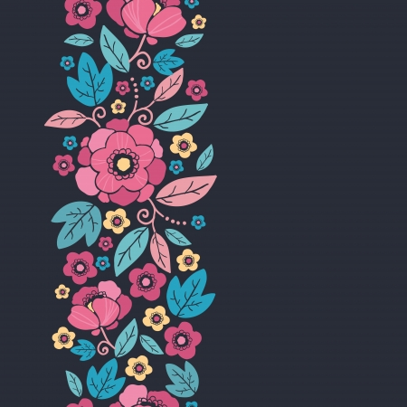 Night Kimono Blossom Vertical Seamless Pattern Border Vector