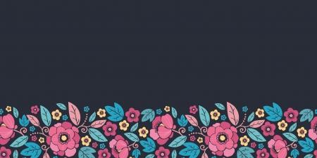 horizontal: Night Kimono Blossom Horizontal Seamless Pattern Border