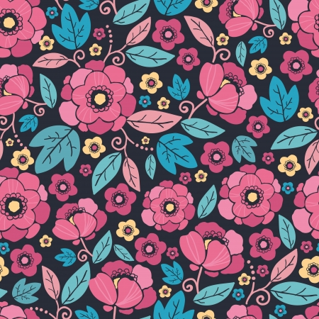 Night Kimono Blossom Seamless Pattern Background Vector