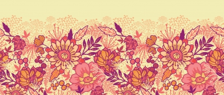 textiles: Fall flowers horizontal seamless pattern background border
