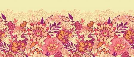 Herbst Blumen horizontale nahtlose Muster Hintergrund Grenze Standard-Bild - 16446370