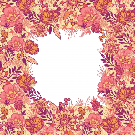 Fall flowers frame seamless pattern background border Ilustração