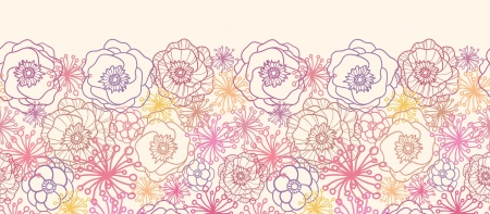 Subtle field flowers horizontal seamless pattern border Vector