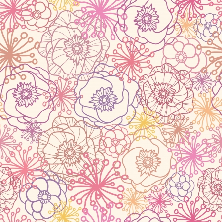 Subtle field flowers seamless pattern background Vector