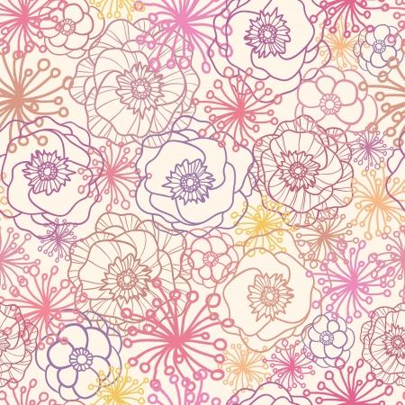 rose: Subtle field flowers seamless pattern background Illustration
