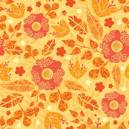 orange roses: Fire flowers seamless pattern background Illustration