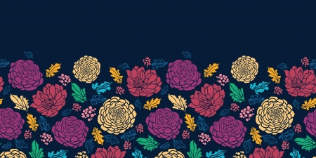 horizontal: Colorful vibrant flowers on dark horizontal seamless pattern