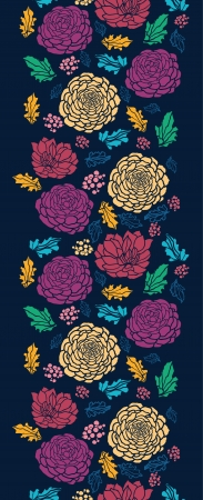 Colorful vibrant flowers on dark vertical seamless pattern Vector