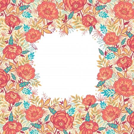 red rose: Colorful vibrant flowers frame border Illustration