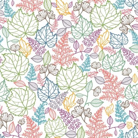 Line Art Leaves Seamless Pattern Background  Vettoriali