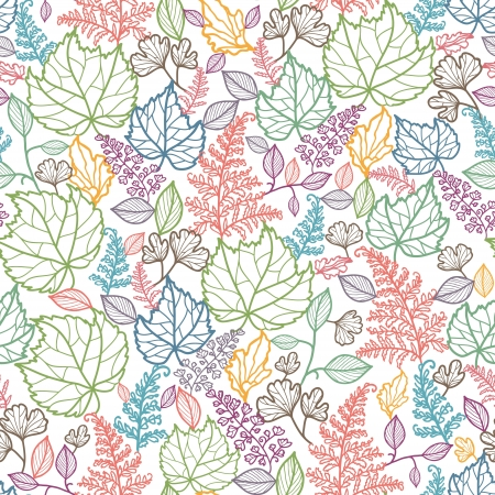 autumn fashion: Line Art Leaves Seamless Pattern Background  Illustration