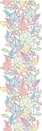 Line Art Leaves Vertical Seamless Pattern Background Border Stock Vector - 16446361