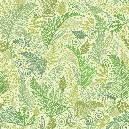Green Fern Leaves Seamless Pattern Background  Vettoriali