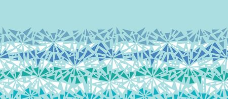 Abstract ice chrystals texture horizontal seamless pattern Vector