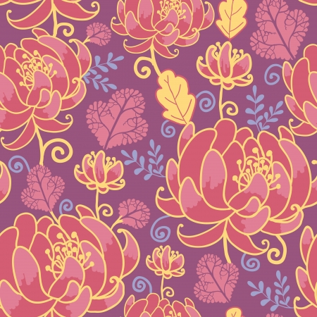 Magical flowers seamless pattern background