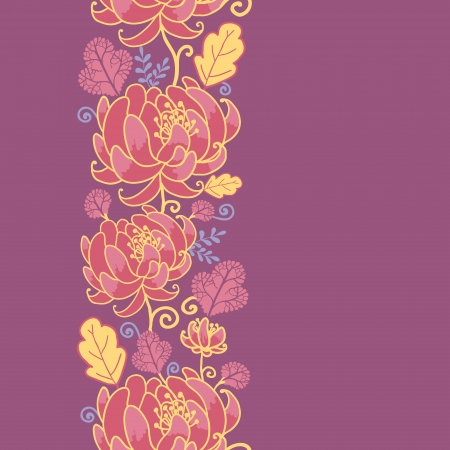 Magical flowers vertical seamless pattern background Vector