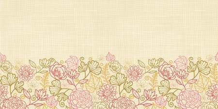 Textile flowers horizontal seamless pattern background border Vector