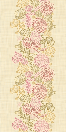 Textile flowers vertical seamless pattern background border Vector