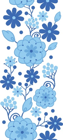 Delft blue Holland flowers vertical seamless pattern border Vector