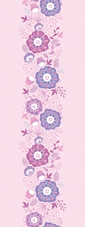 Purple Blossom Flowers Vertical Seamless Pattern Border Illustration