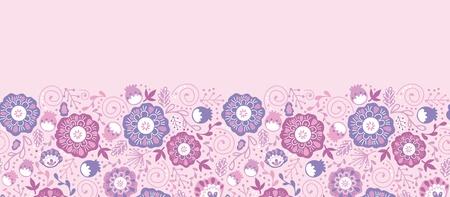 Purple Blossom Flowers Horizontal Seamless Pattern Border