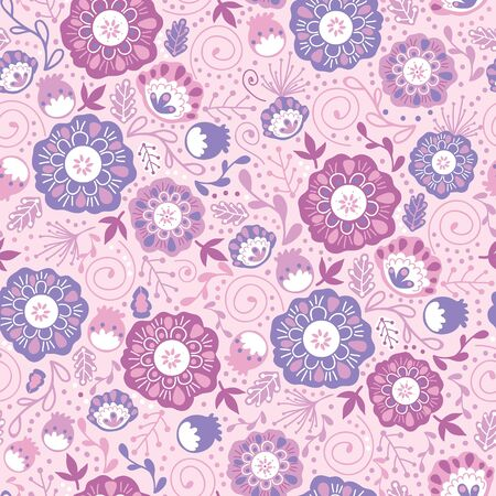 Purple Blossom Flowers Seamless Pattern Background Vector