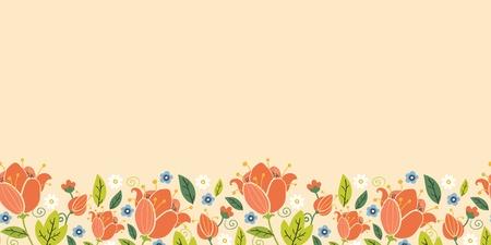 화려한 봄은 가로 원활한 패턴 테두리 튤립 일러스트