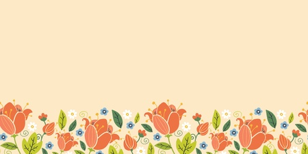 green swirl: Colorful spring tulips horizontal seamless pattern border Illustration