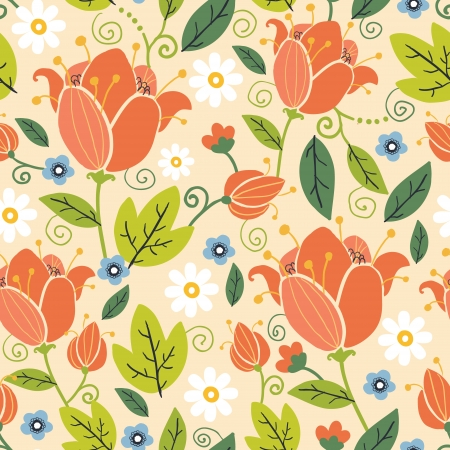 orange swirl: Colorful spring tulips seamless pattern background Illustration