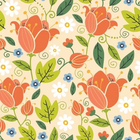 naranja caricatura: Tulipanes coloridos del resorte de fondo sin fisuras patr�n Vectores