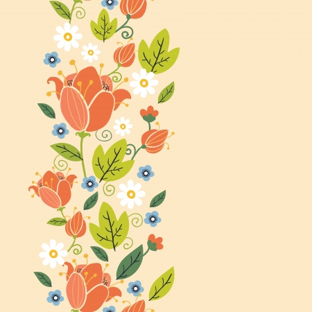 textile image: Colorful spring tulips vertical seamless pattern border